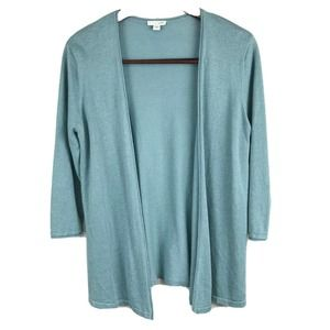 J Jill Cardigan Sweater Raw Linen Open Front